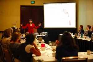 "Gloria Feldt presenting the ""No Excuses"" 9Ways Power Tools"