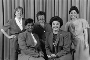 The Senate Democratic women in 1993. L-R: Murray, Moseley Braun, Mikulski, Feinstein, Boxer.