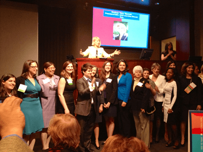 Sam Bennett, President of the Women's Campaign Fund, cheers on the dozens of WCF-endorsed candidates and officeholders